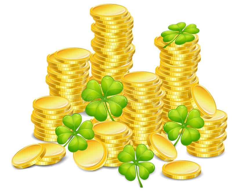 Monete dorate con il trifoglio illustrazione vettoriale