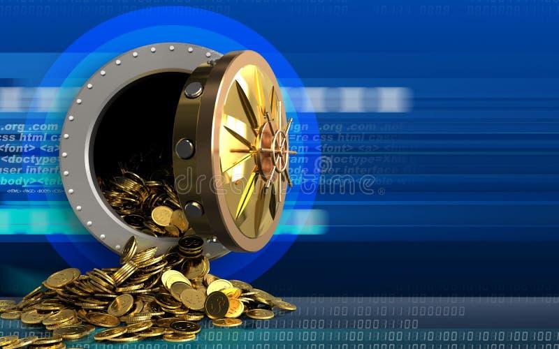 monete dorate 3d sopra cyber fotografia stock