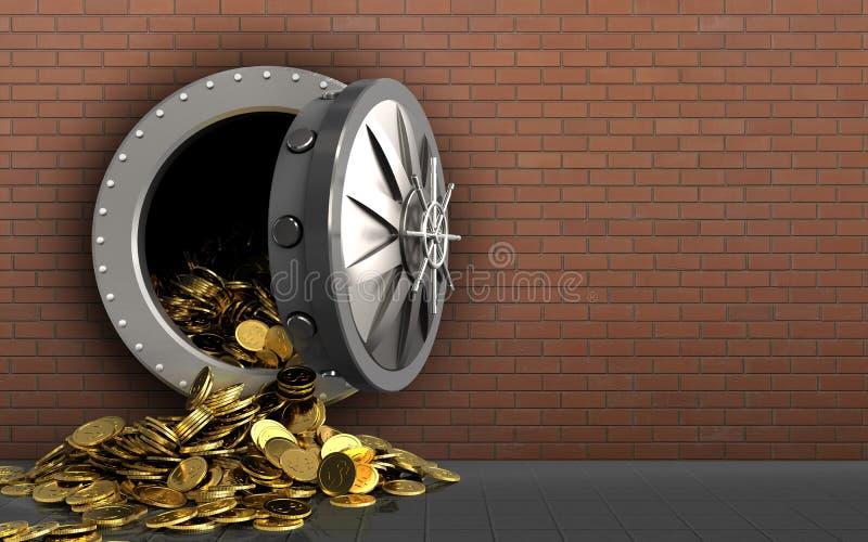 monete dorate 3d sopra i mattoni rossi illustrazione vettoriale