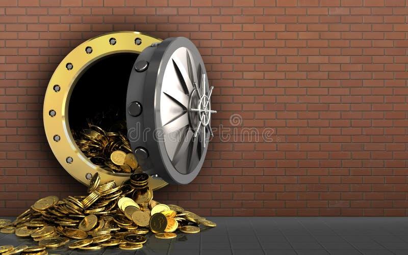 monete dorate 3d sopra i mattoni rossi royalty illustrazione gratis