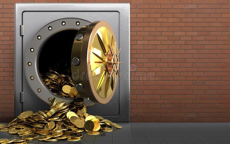 monete dorate 3d sopra i mattoni rossi illustrazione di stock