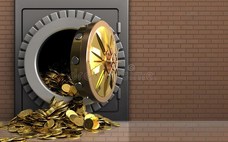 monete dorate 3d sopra la parete di mattoni royalty illustrazione gratis