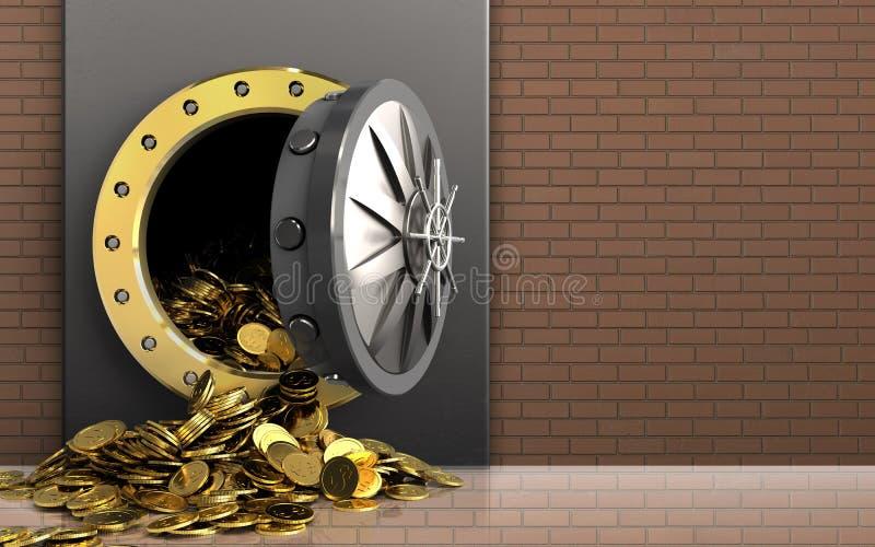 monete dorate 3d sopra la parete di mattoni illustrazione di stock