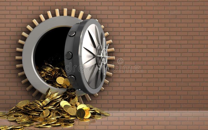 monete dorate 3d sopra la parete di mattoni fotografia stock libera da diritti