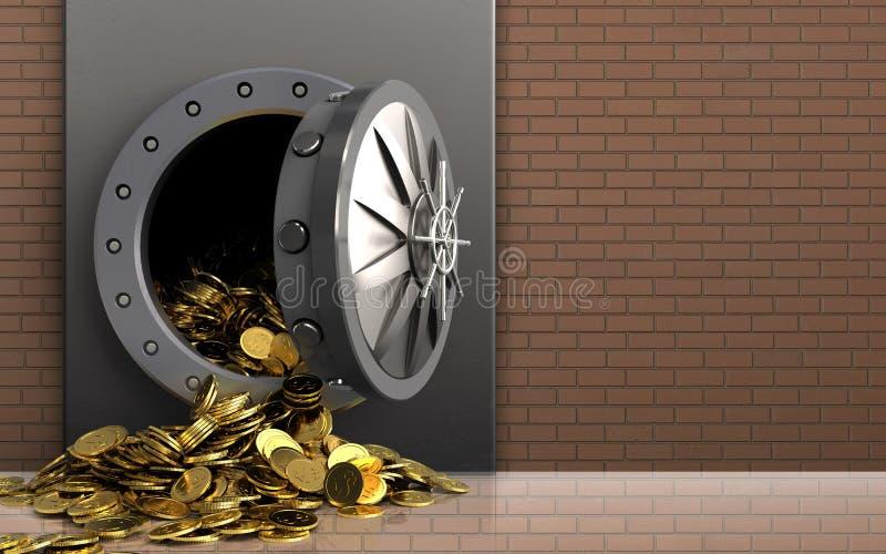 monete dorate 3d sopra la parete di mattoni illustrazione vettoriale