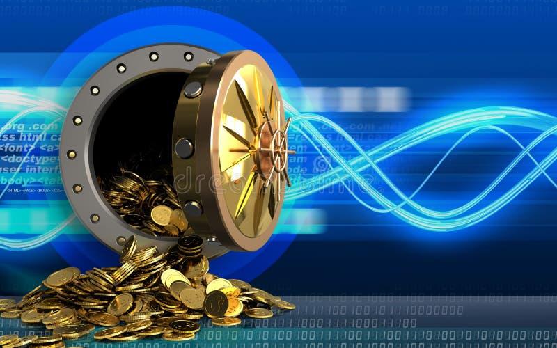 monete dorate 3d sopra le onde digitali royalty illustrazione gratis