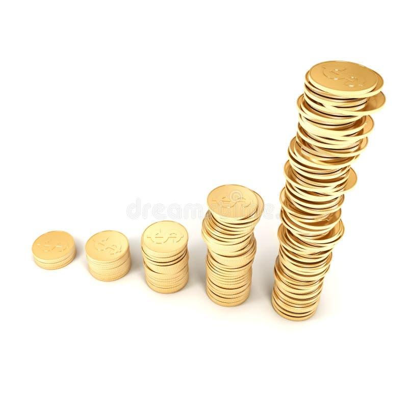 monete dorate 3d su un fondo bianco royalty illustrazione gratis
