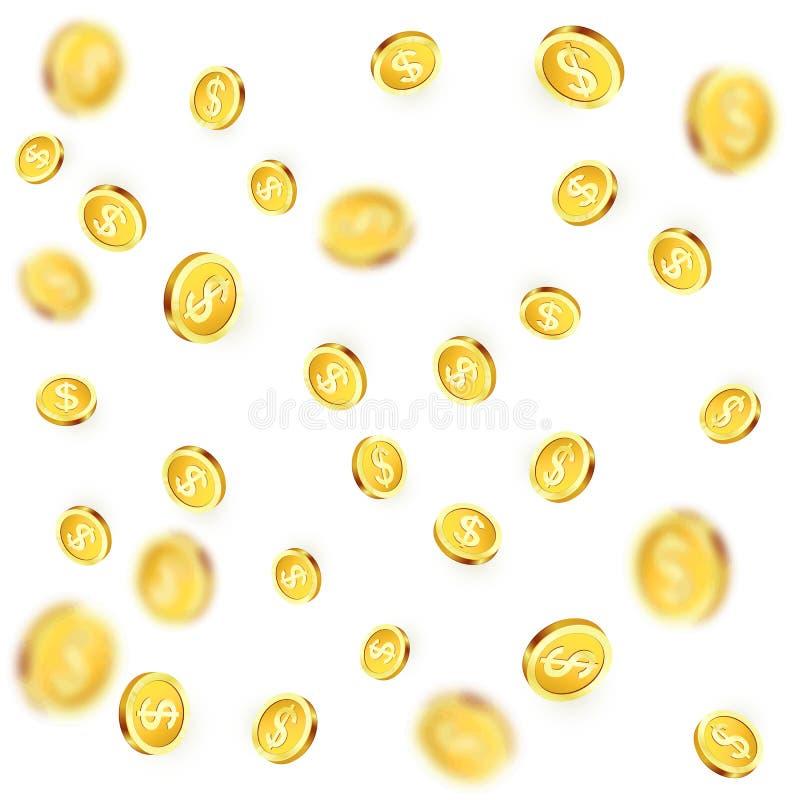 Monete dorate di caduta Pioggia brillante del dollaro del metallo Vittoria di posta del casinò Illustrazione di vettore royalty illustrazione gratis