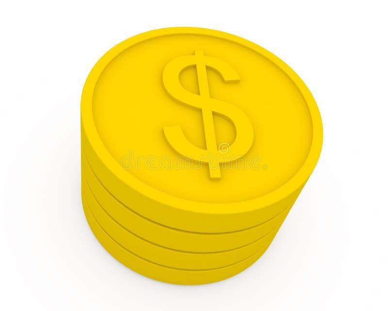 Monete dorate nello stile del fumetto illustrazione vettoriale