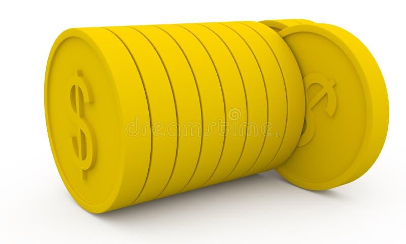 Monete dorate nello stile del fumetto illustrazione di stock