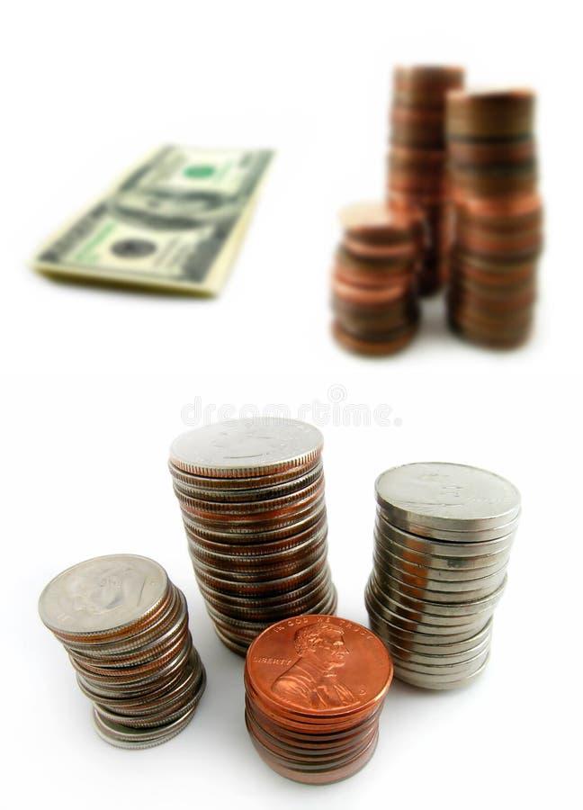 Monete e contanti fotografia stock libera da diritti