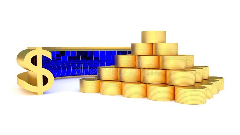 Monete e dollari illustrazione vettoriale
