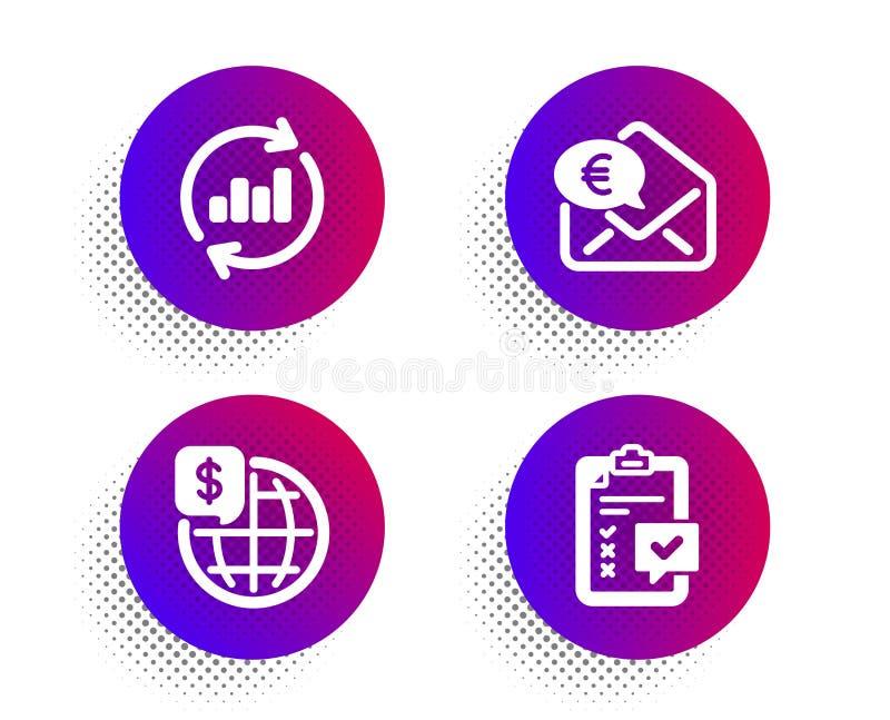 Monete in euro, dati aggiornati e icone Mondiali Segno di checklist Ricevi contanti, Sales Chart, Mercati globali Vettore royalty illustrazione gratis