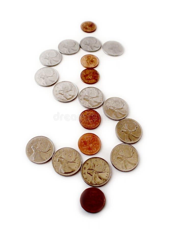 Monete nel modulo del segno del dollaro fotografia stock