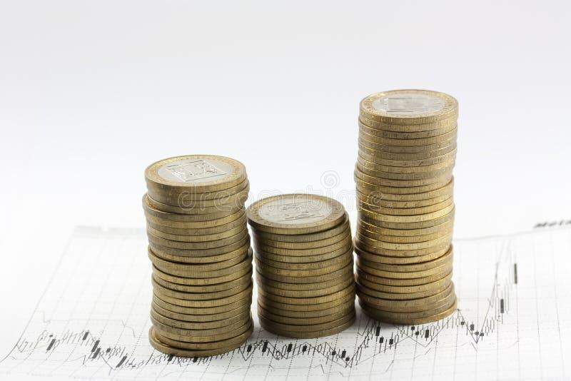 Monete su un diagramma del reddito fotografia stock