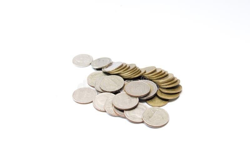 Monete tailandesi del bagno, un due valori di cinque e dieci baht fotografia stock libera da diritti