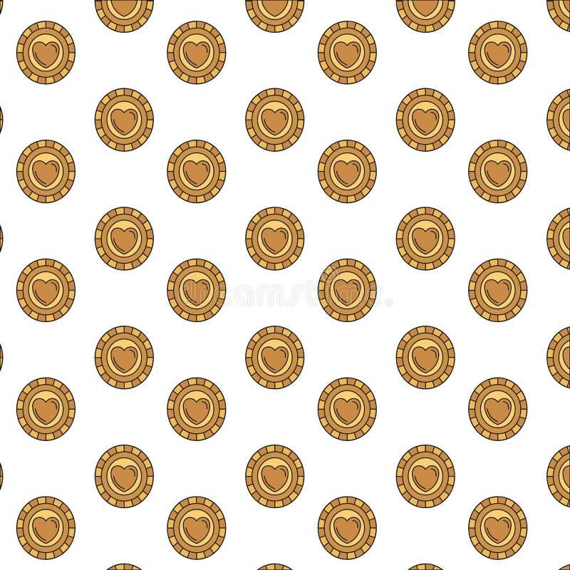 Monete variopinte del modello della siluetta con il simbolo del cuore dentro illustrazione vettoriale