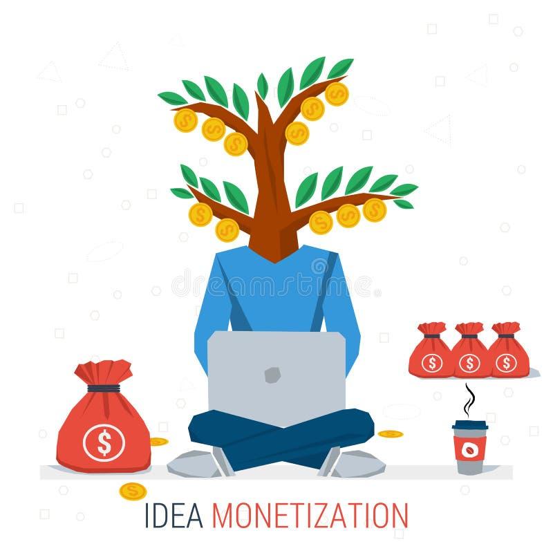 monetización de la idea del negocio libre illustration