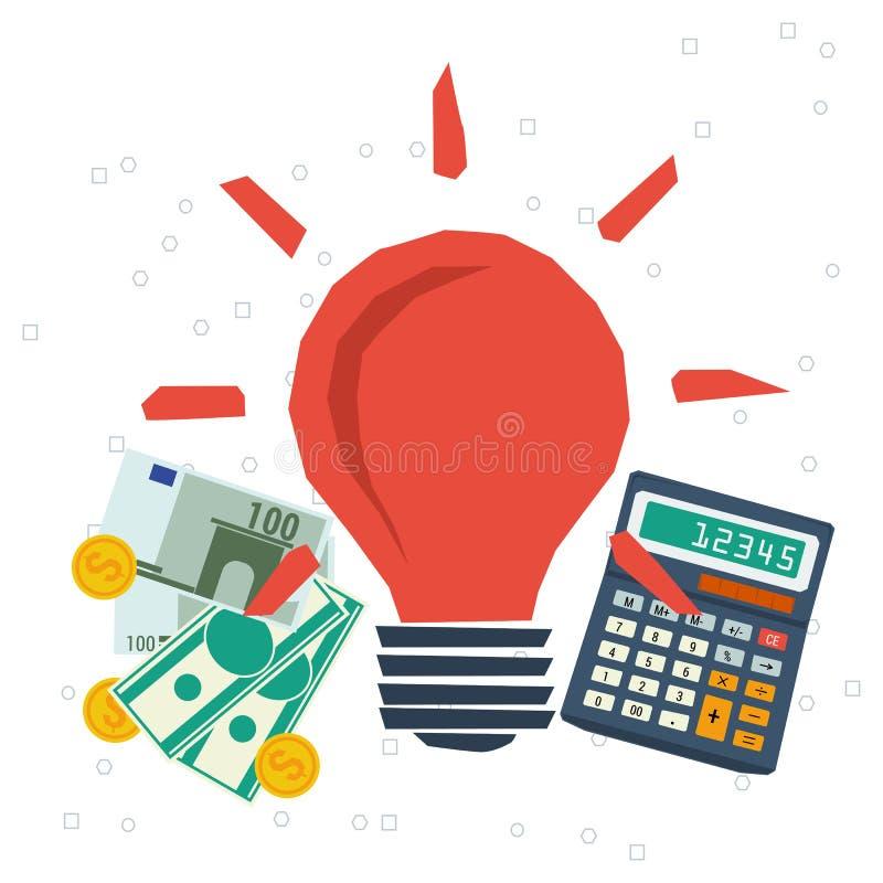 Monetización del concepto, idea del negocio, planeando stock de ilustración