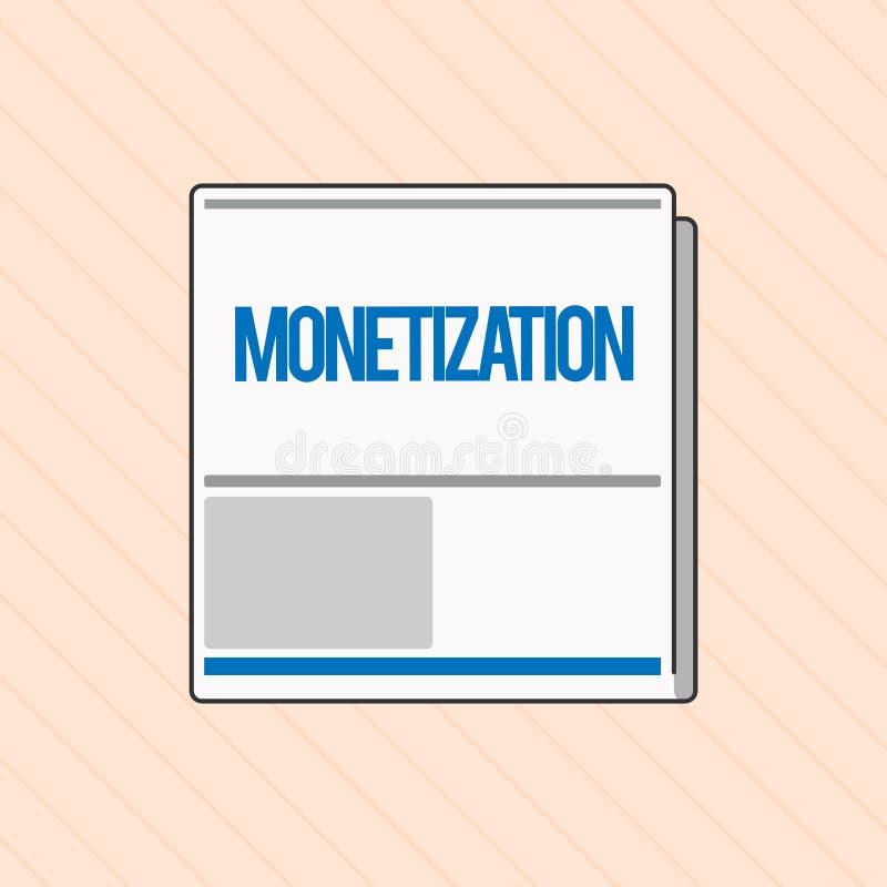 Monetization för ordhandstiltext Affärsidé för processen av att konvertera som upprättar något in i lagligt anbud vektor illustrationer