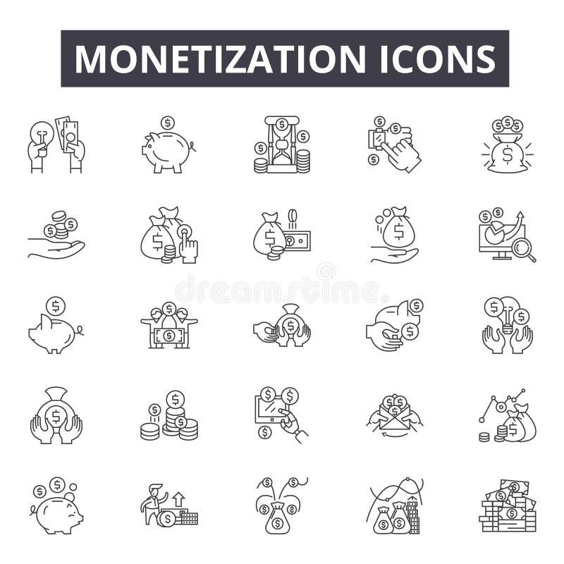 Monetization pojęcia linii ikony, znaki, wektoru set, liniowy pojęcie, kontur ilustracja royalty ilustracja