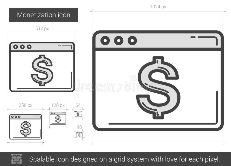 Monetizationlinje symbol vektor illustrationer