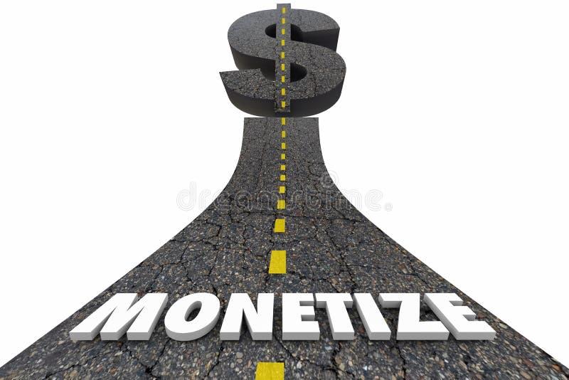 Monetize la muestra de dólar de la palabra del camino ilustración del vector