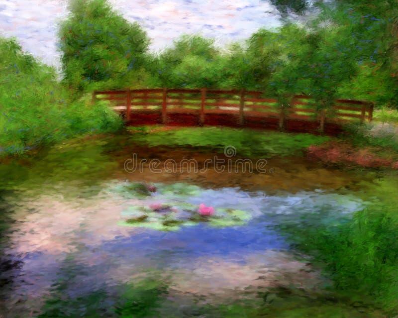 Monets Brücke stock abbildung
