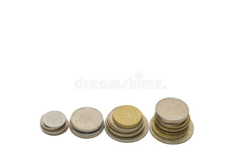 monety białe tło obrazy royalty free