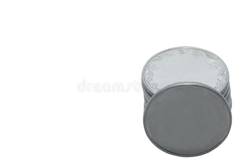 monety białe tło fotografia stock