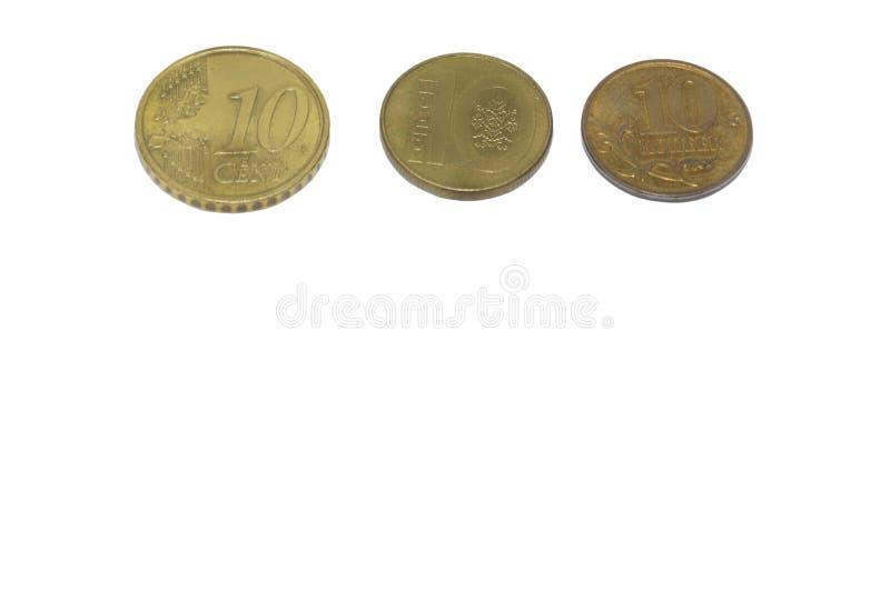 monety białe tło zdjęcie royalty free