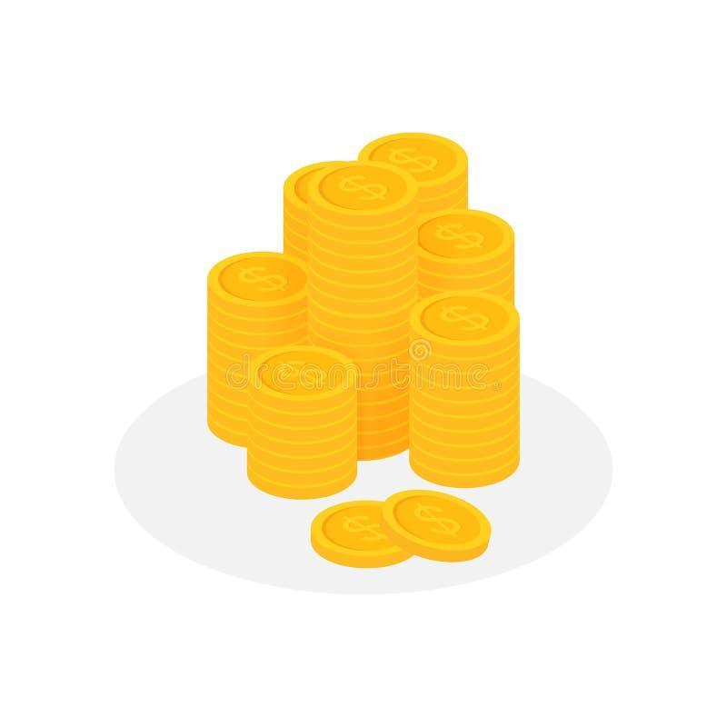 Monety brogują, złoty cent gotówki stos r?wnie? zwr?ci? corel ilustracji wektora ilustracja wektor