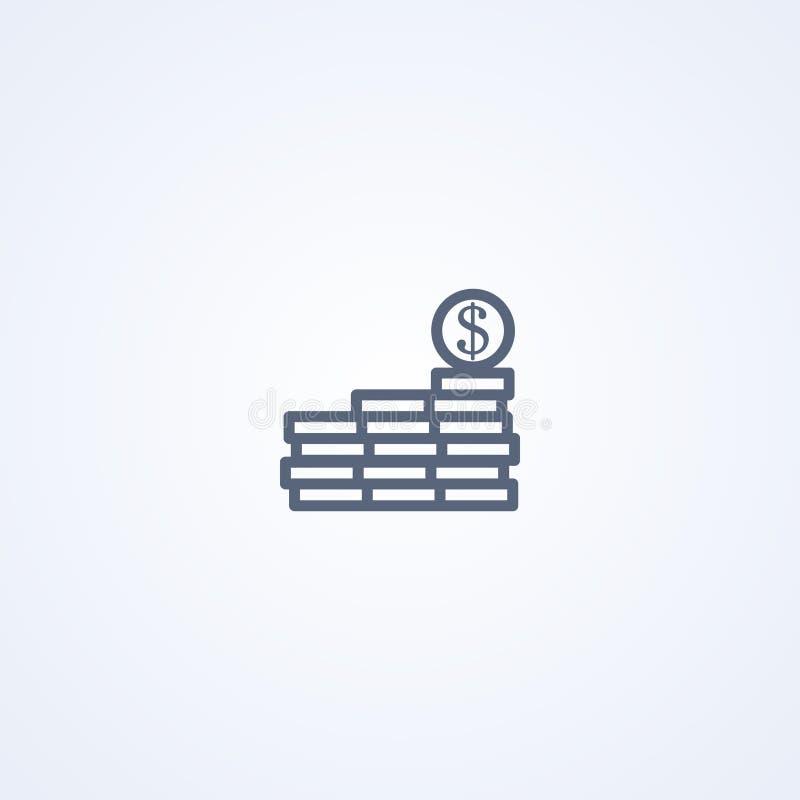 Monety, cent, wektorowe najlepszy szarość wykładają ikonę royalty ilustracja