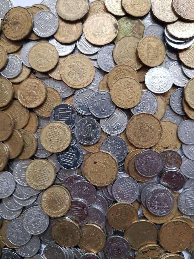 monety centy meksykańscy peso, savings i kolekcja, obrazy stock