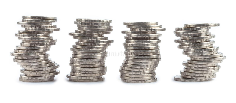 monety cztery zrobili rolkom fotografia royalty free