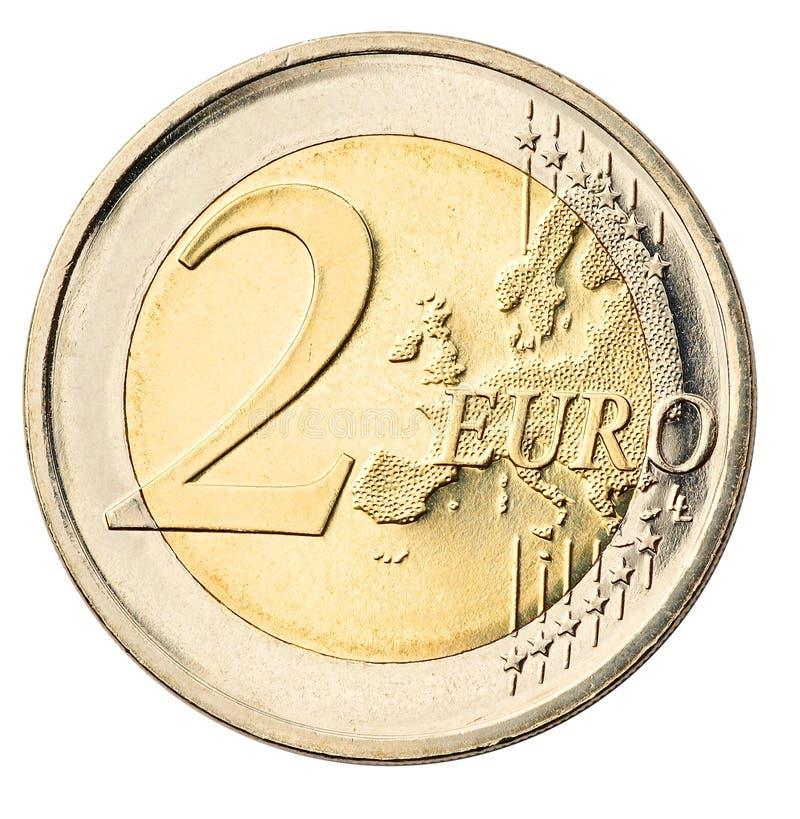 monety euro white izolacji fotografia stock