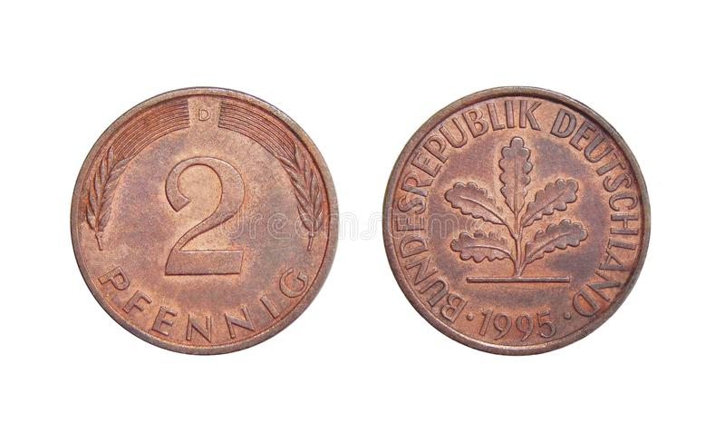 Monety 2 fenig Niemcy zdjęcia royalty free