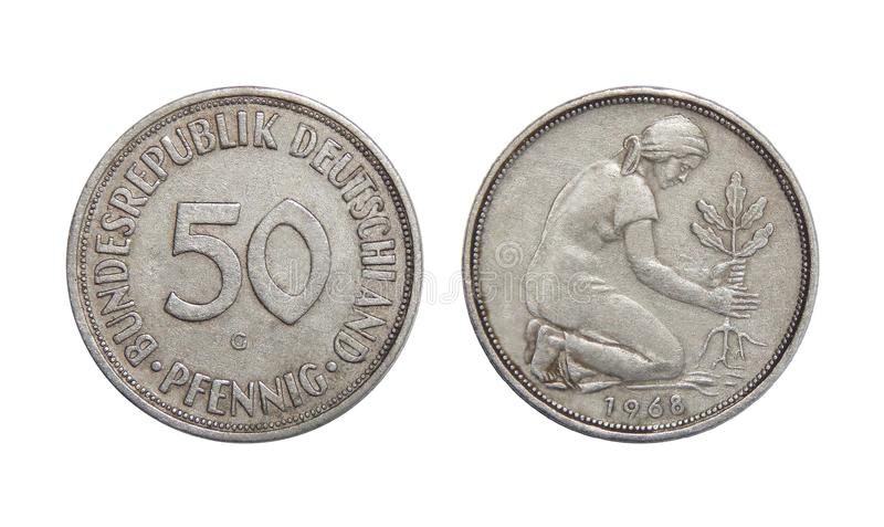 Monety 50 fenig Niemcy fotografia royalty free