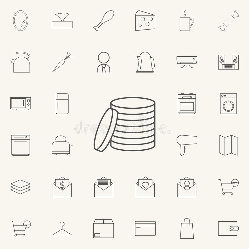 Monety ikona sieci ikon ogólnoludzki ustawiający dla sieci i wiszącej ozdoby ilustracji