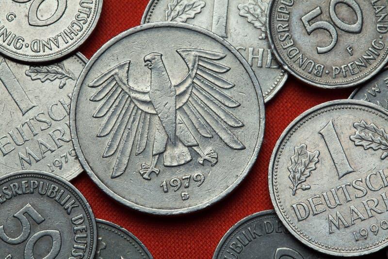 Monety Niemcy Niemiecki orzeł zdjęcia stock
