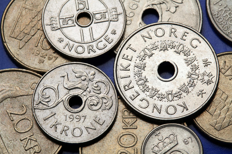 Monety Norwegia obraz royalty free