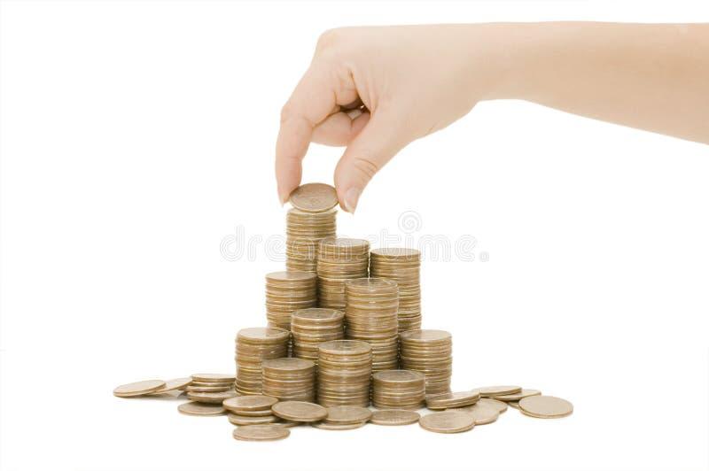 monety odizolowywali biel zdjęcia stock
