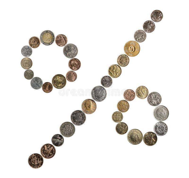 Monety różni kraje rozprzestrzeniają out w postaci zdjęcie royalty free
