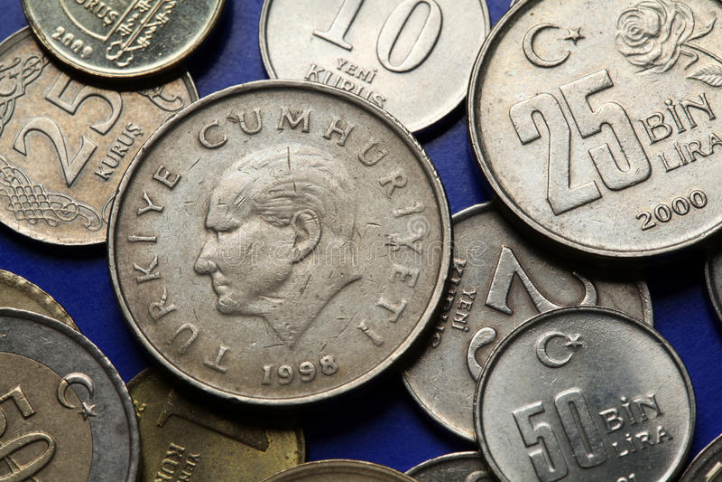 Monety Turcja kemal ataturk mustafa obrazy royalty free