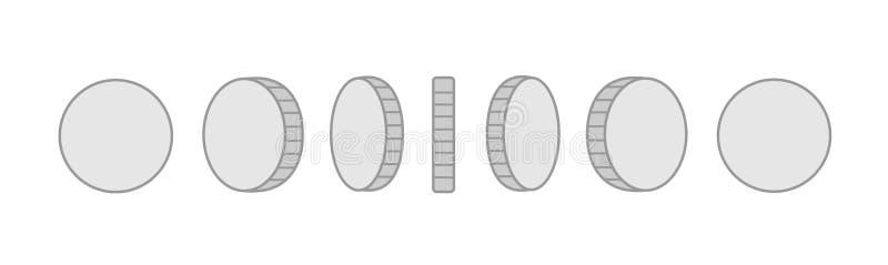 Monety ustawiaj? wektorowi sprites dla obracanie animaci moneta odizolowane srebra Dla wisz?cej ozdoby, desktop i aplikacj siecio ilustracji