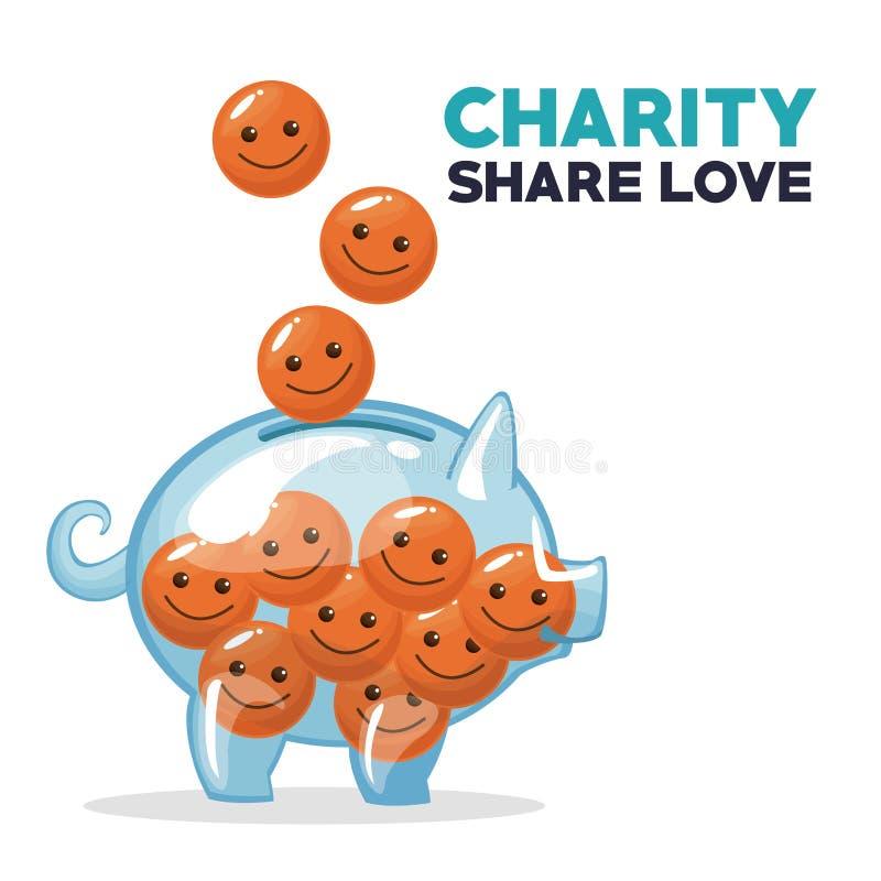 Monety w formie unosi się i deponuje w pieniądze prosiątka banka dobroczynności części miłości szczęśliwa twarz royalty ilustracja