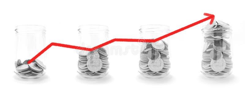 Monety w szkle z czerwona linia wykresem rezerwują dla finanse, inwestyci i bankowości pojęcia, zdjęcie stock