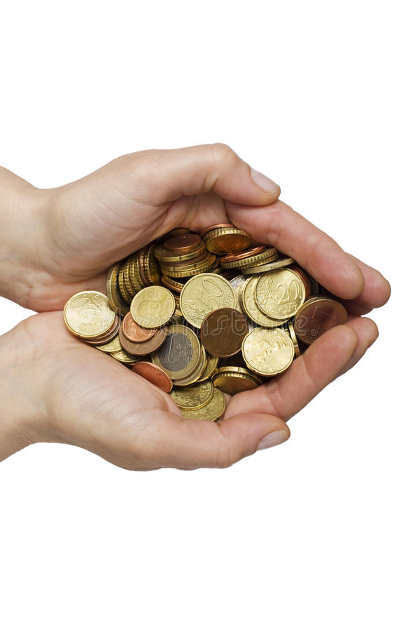 monety wręczają dużo obraz stock