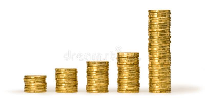 monety złota sterty pieniędzy obraz stock