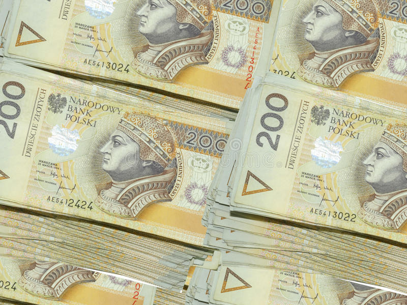 Money 200 PLN. Poland currency banknotes in denominations of 200 zl stock photography